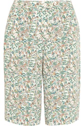 Paul And Joe Nantua Floral Print Crepe Shorts Green