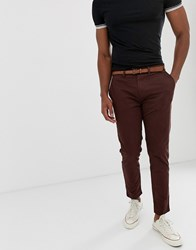Pull And Bear Skinny Chino With Belt In Burgundy Red