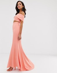 Jarlo High Waist Maxi Fishtail Skirt Co Ord In Coral Pink
