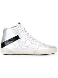 Philippe Model Logo Patch Hi Top Sneakers Metallic