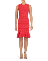 Shoshanna Stretch Jacquard Flounce Hem Sheath Dress Cherry