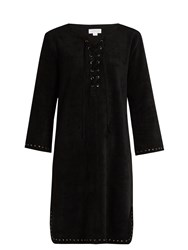 Velvet By Graham And Spencer Raleigh Lace Up Faux Suede Dress Black