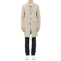 Theory Men's Brushed Melton Three Button Overcoat Tan
