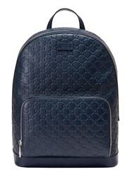 Gucci Signature Leather Backpack Men Leather Nylon Microfibre One Size Blue