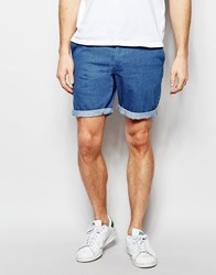 Asos Denim Chino Shorts In Stretch Slim Mid Blue Mid Blue
