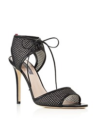 Sarah Jessica Parker Sjp By Ravish Leather And Glitter Mesh High Heel Sandals 100 Bloomingdale's Exclusive Black