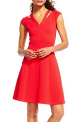 Adrianna Papell Women's Cutout V Neck Fit And Flare Dress