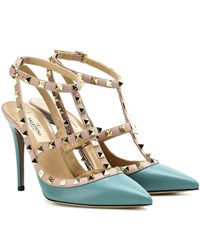 Valentino Rockstud Leather Pumps Turquoise
