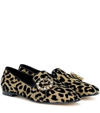 Dolce And Gabbana Crystal Embellished Loafers Yellow