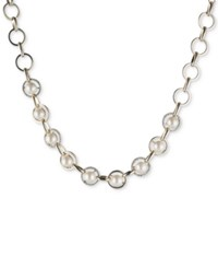 Carolee Gold Tone Imitation Pearl And Pave Collar Necklace White