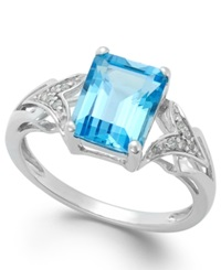 Macy's Emerald Cut Blue Topaz 2 1 2 Ct. T.W. And Diamond Accent Ring In 14K White Gold