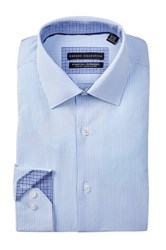 Report Collection Long Sleeve Slim Fit Stretch Striped Dress Shirt Blue