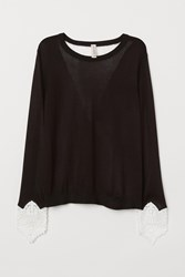 Handm H M Sweater With Lace Details Black
