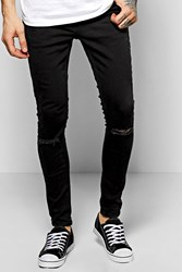 Boohoo Super Skinny Fit Jeans With Ripped Knees Black