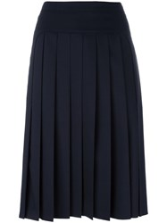 Jil Sander Navy Short Pleated Skirt Blue