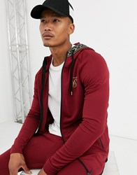 Sik Silk Siksilk Zip Thru Hoodie In Burgundy With Hood Detail Red