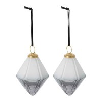Amara Set Of 2 Two Tone Geometric Tree Decorations Grey