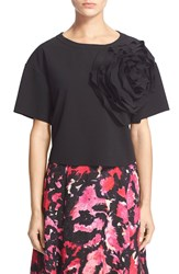 Tracy Reese Floral Embellished Stretch Crepe Top Black