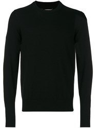 Maison Martin Margiela Elbow Patch Round Neck Sweater Men Calf Leather Wool M Black