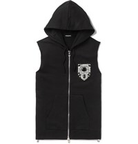 Balmain Slim Fit Embellished Loopback Cotton Jersey Sleeveless Hoodie Black