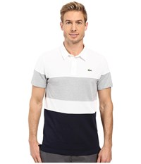 Lacoste Golf Short Sleeve Color Block Pique Ultra Dry White Navy Blue Silver Grey Chine Men's Clothing Multi
