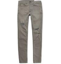 Rag And Bone Slim Fit Distressed Stretch Denim Jeans Gray