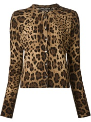 Dolce And Gabbana Leopard Print Cardigan Brown