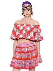 Manish Arora Cropped And Ruffled Printed Crepe Top