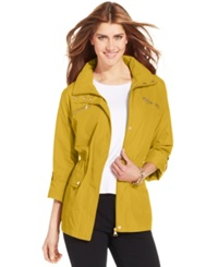 Style And Co. Petite Zip Pocket Hooded Anorak Bold Yellow