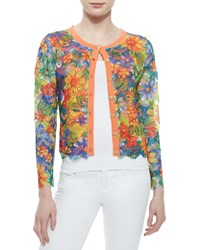 Michael Simon Floral Lace Cropped Cardigan Petite Orange Multi