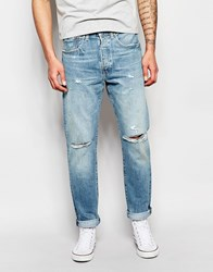 Levi's Jeans 501 Customized Tapered Fit Dirty Dawn Light Ripped Blue