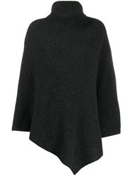 Pringle Of Scotland Short Length Ribbed Poncho Grey