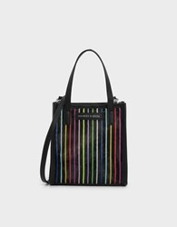 Charles And Keith Striped Mesh Top Handle Bag Multi