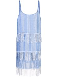 Lemlem Zinab Fringed Slip Dress Blue