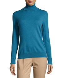 Lafayette 148 New York Long Sleeve Turtleneck Sweater Pacific