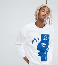 Reclaimed Vintage Inspired Crew Neck Sweat With Art Print White