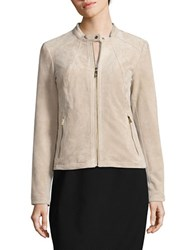 Ivanka Trump Long Sleeve Suede Jacket Khaki