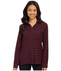 Rvca Jig 2 Top Burgundy Women's Long Sleeve Button Up