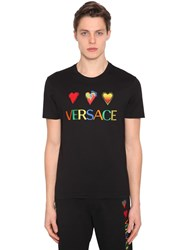 Versace Embroidered Hearts Cotton Jersey T Shirt Black