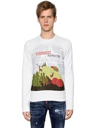 Dsquared Mountain Print Cotton Jersey Sweatshirt