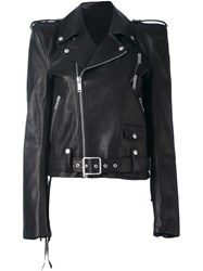 Unravel Structured Shoulder Biker Jacket Black