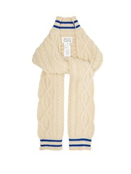 Maison Martin Margiela Cable Knit Cricket Inspired Scarf Beige