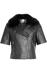 Shrimps Perforated Jacket With Faux Fur