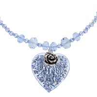 Martick Bohemian Glass Flat Heart And Rose Crystal Necklace Aqua