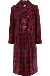 Badgley Mischka Double Breasted Sequined Checked Felt Coat Brick