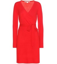 Diane Von Furstenberg Kerry Wool And Cashmere Wrap Dress Red