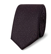 Lanvin 5Cm Wool And Lurex Blend Tie Burgundy