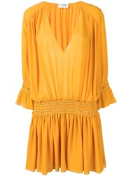 Saint Laurent Studded Georgette Dress Yellow