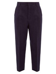 Raey Exaggerated Tapered Leg Boiled Wool Trousers Navy