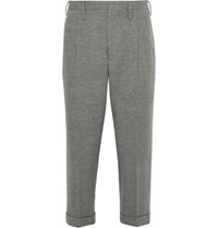 Visvim Wide Leg Cropped Wool And Linen Blend Trousers Gray